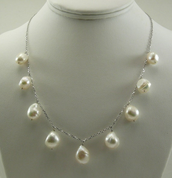 Freshwater White Pearl Tin Cup Necklace 14k White Gold Cable Chain 18 Inches