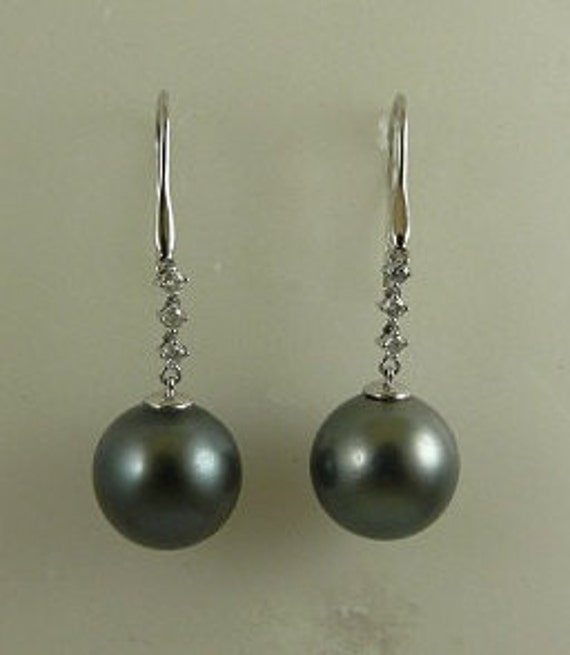 Tahitian Black 13.7mm & 13.5 mm Pearl Earrings,18k White Gold  Diamonds 0.18ct