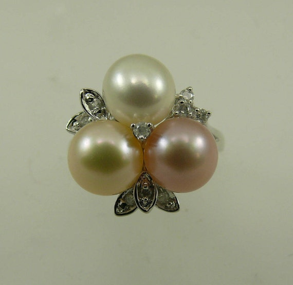 Freshwater Multi-Color Pearl Ring with Diamonds 14k White Gold