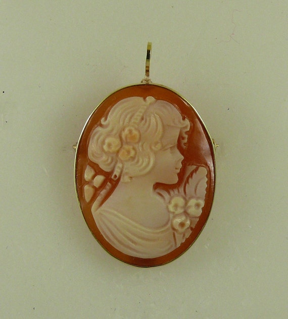 Cameo 25 mm x 17.6 mm Carnelian Shell Lady Pin and Pendant With 14K Yellow Gold