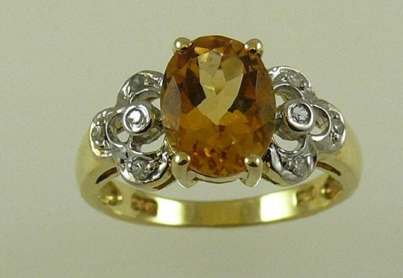 Citrine 1.75ct Ring 14k Yellow Gold and Diamonds 0.08ct