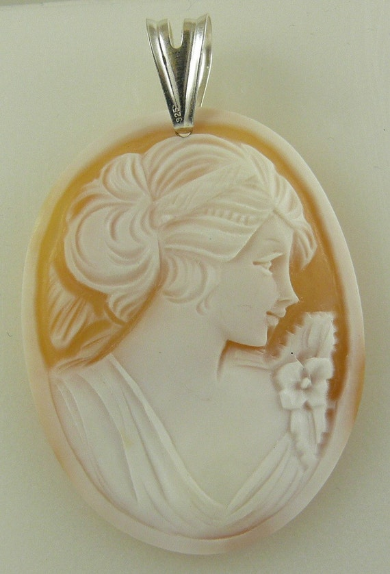 Cameo Carenlian Shell Lady Pendant with Sterling Silver Bail