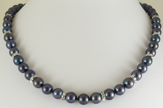 Fresh Water Pearl 8 to 8.5 MM Black Necklace w Diamond Rondels 0.31ct 17 3/4""