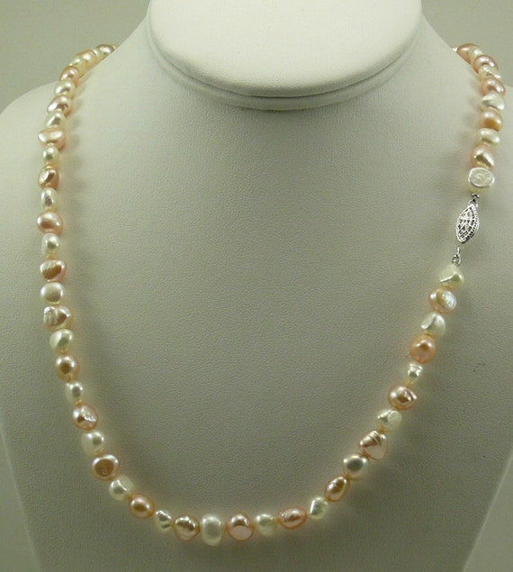 Freshwater Multi-Color Pearl Necklace with Sterling Silver Clasp 91 Inches