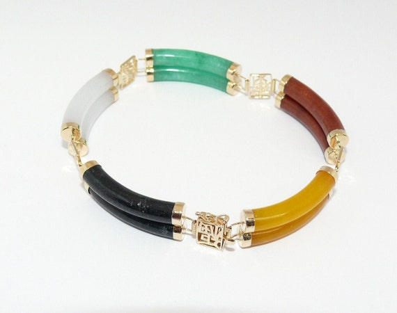 Multi-Color Jade Double Row Bracelet 14k Yellow Gold 7 1/2 Inches