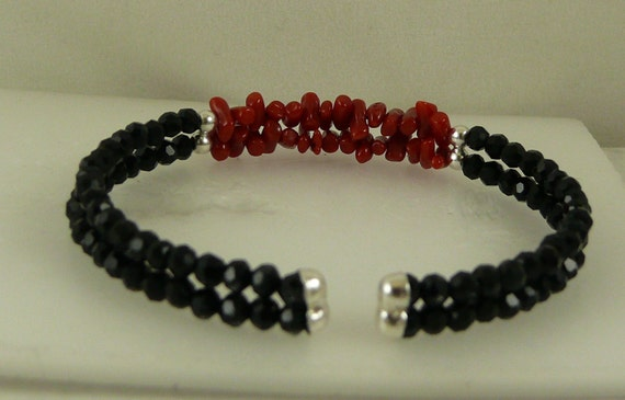 Italian Coral & Black Onyx Double Strand Cuff with Sterling Silver