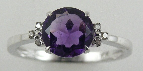 Amethyst 1.12ct Ring with Diamonds 0.04ct 14k White Gold