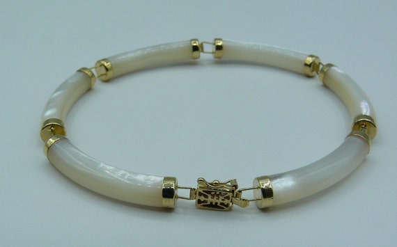 Mother of Pearl 4.8 mm x 26.6 mm Bracelet 14k Yellow Gold