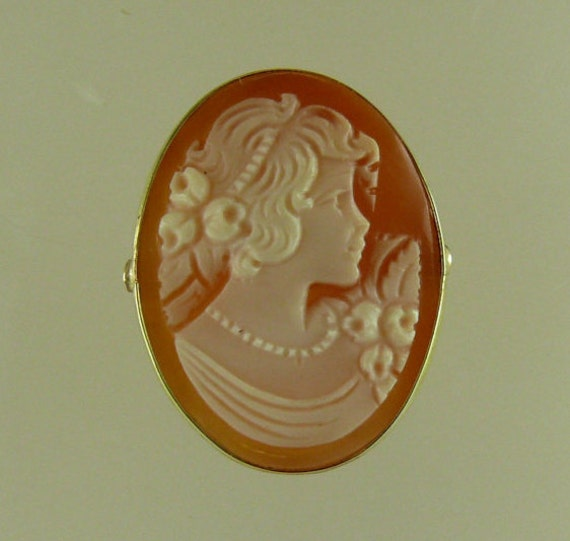 Cameo 24.8 mm x 18.9 mm Ring 14k Yellow Gold,Size Selectable