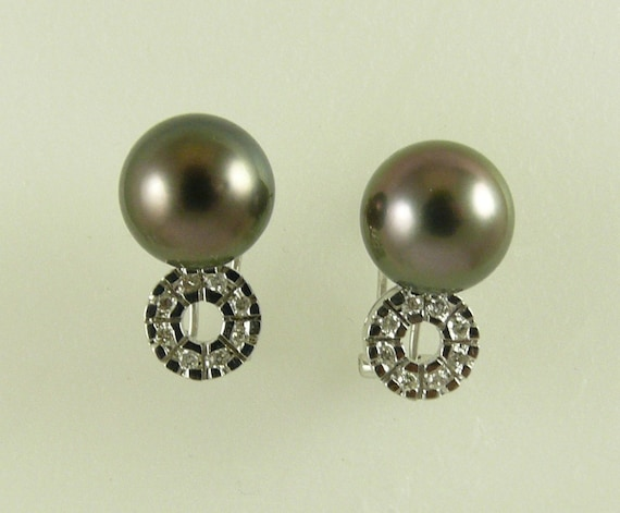 Tahitian Black 10.4 mm Pearl Earrings With 14k White Gold & Diamonds 0.20 ct