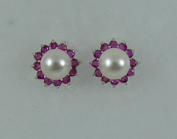 Akoya 6.6 mm White Pearl Earring and Ruby 0.80ct Jackets 14k White Gold
