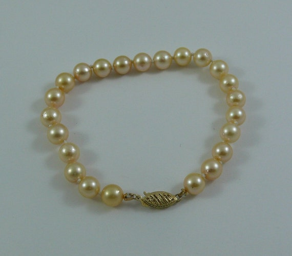 Akoya Round Light Golden Pearl Bracelet 14k Yellow Gold Clasp