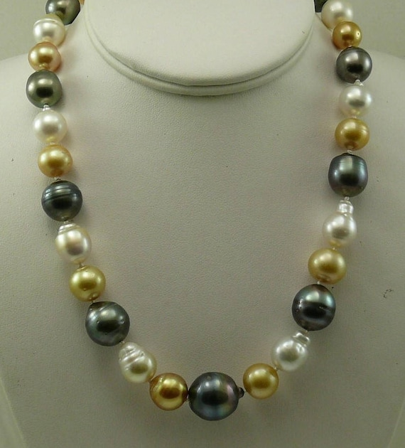 South Sea Multi-Colored Baroque Pearl Necklace 14K White Gold Clasp