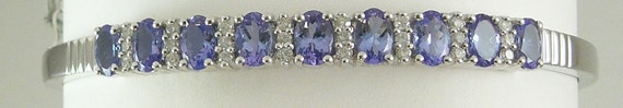 Tanzanite 3.90ct Bangle with Diamonds 0.47ct 14k White Gold 8""