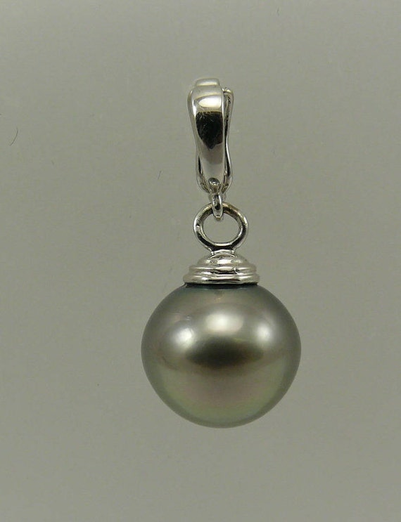 Tahitian Dark Gray Semi-Round Pearl Pendant with 14k White Gold