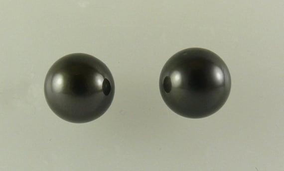Tahitian Black 12.1mm - 12.0mm Pearl Stud Earrings 14k White Gold Post Push Back