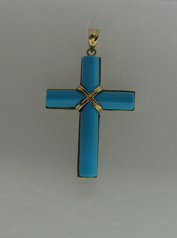 Reconstituted Turquoise Cross Pendant 14k Yellow Gold