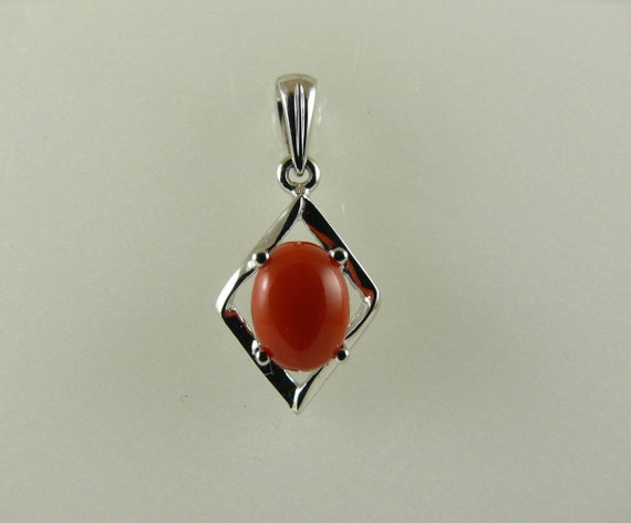 Italian Coral 8mm x 6mm Pendant 14k White Gold