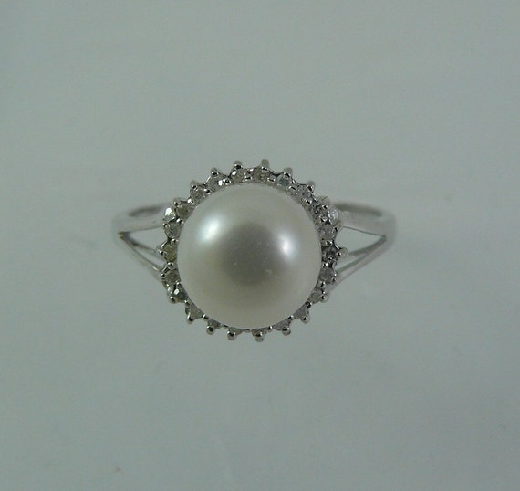 Freshwater White 8.3 mm Pearl Ring with Diamonds 14k White Gold