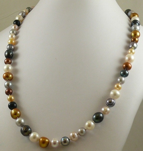 """Freshwater Multicolor Pearl Necklace 7.7mm x 11.5mm 14k White Gold Clasp 35 1/2"""""""