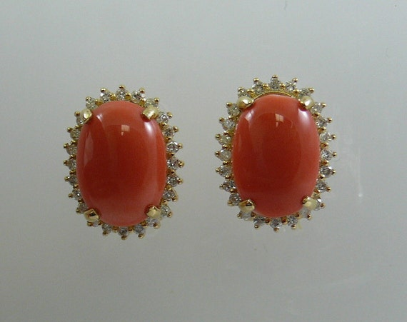 Coral 13.5 x 9.8 mm Earring 14k Yellow Gold and Diamonds 0.68ct
