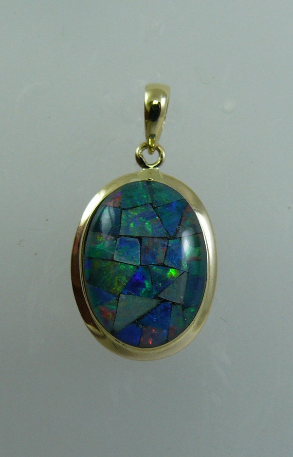 Mosaic Opal 10.0 x 14.0 mm Pendant 14k Yellow Gold