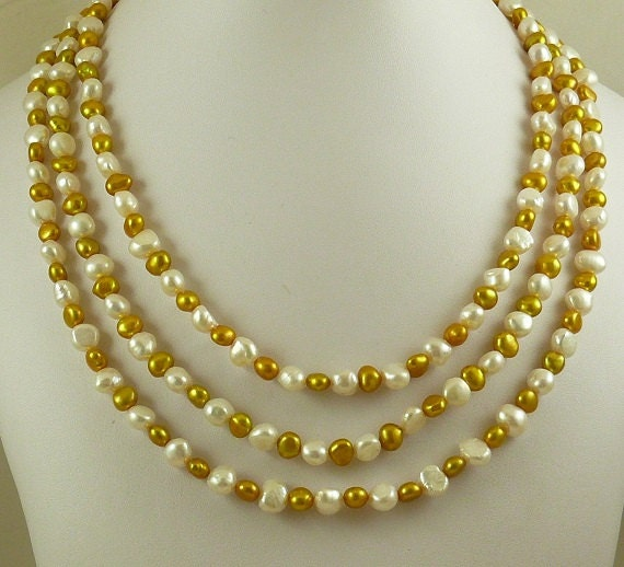 Freshwater Golden & White Pearl Triple Strand Necklace And Sterling Silver Clasp