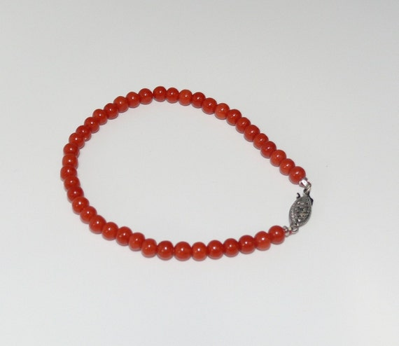 Italian Coral Bracelet with 14k White Gold 7 1/4 Inches