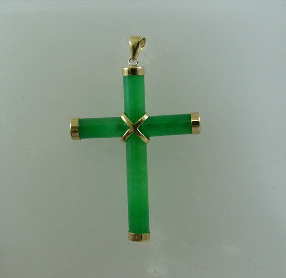 Jade Cross Pendant with 14k Yellow Gold