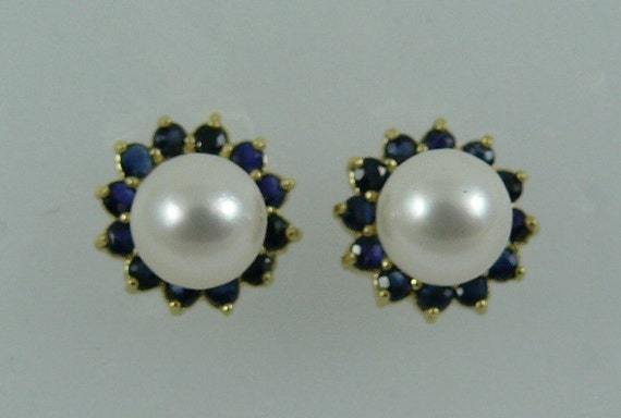Akoya 6.7 mm White Pearl Earring and Sapphire 0.85ct Jackets 14k Yellow Gold