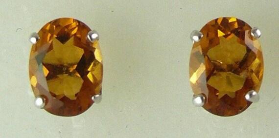 Citrine 2.21ct Stud Earring 14k White Gold