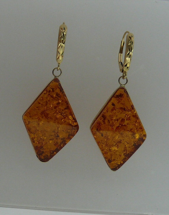 Amber Earring with 14k Yellow Gold
