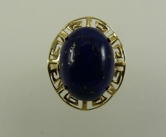 Lapis 16.0 x 12.0 mm Ring 14k Yellow Gold