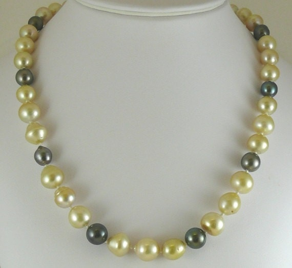 South Sea Multicolor Pearl Necklace 12.1x13.1mm - 9.2mm x 8.9mm 14KY Gold Clasp