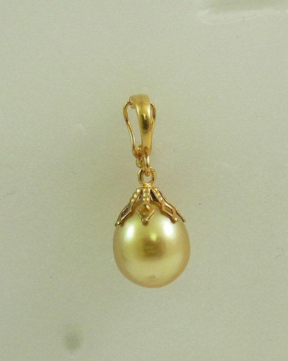 South Sea Golden 10.6 x 12.0 mm Pearl Pendant 14k Yellow Gold Enhancer