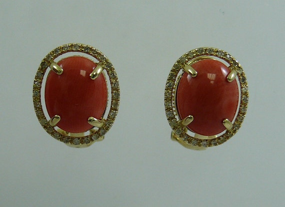 Coral 10.8 x 8.7 mm Earring 14k Yellow Gold and Diamonds 0.68ct