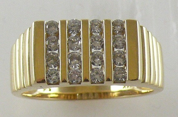Diamond 0.66ct Men's Ring 14k Yellow Gold