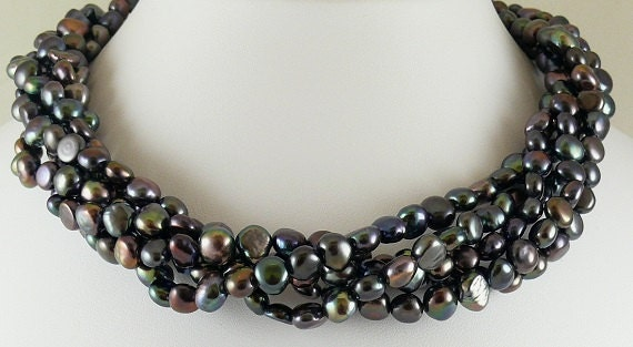 Freshwater Black Flat Pearl Necklace with Sterling Silver Clasp
