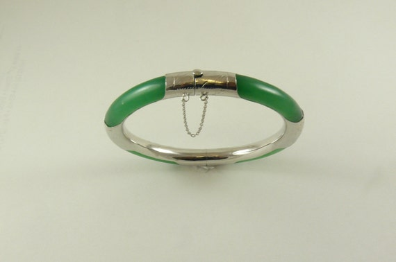 Jade Green Bangle with Silver 7 Inches