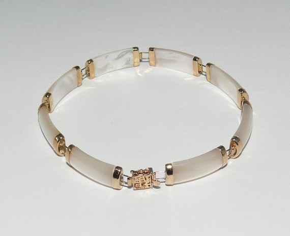 Mother of Pearl 7.2 mm x 18.6 mm Bracelet 14k Yellow Gold