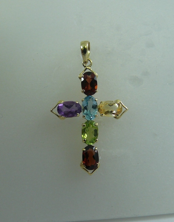 Multi-Color Gem Stone Cross Pendant With 14K Yellow Gold