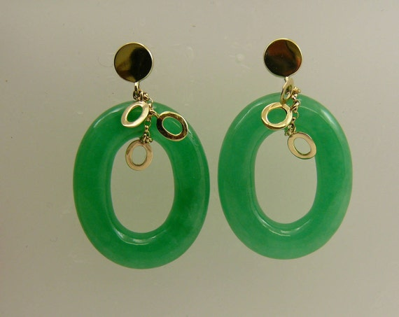 Green 20 x 25 mm Jade Earrings 14k Yellow Gold