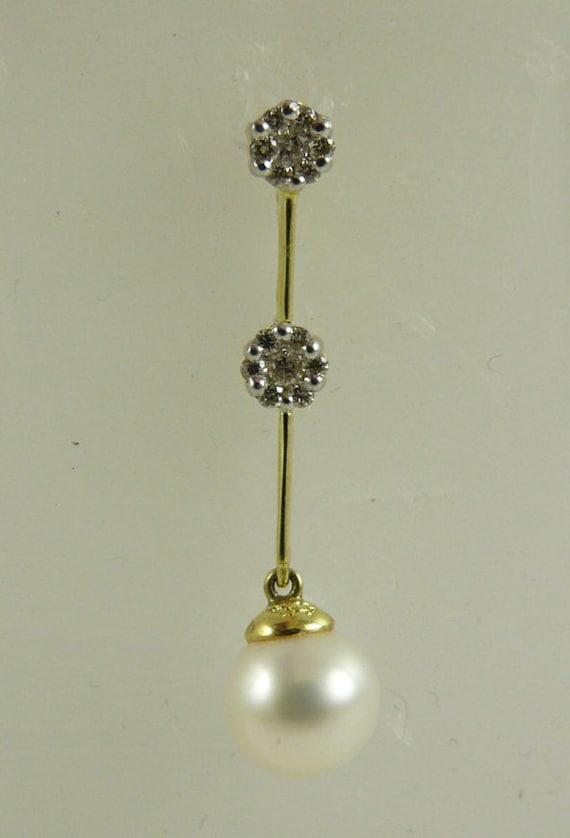 Fresh Water White Pearl 8.4mm Pendant 14k Yellow Gold & Diamonds 0.20ct