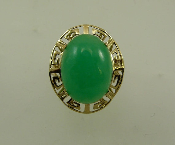 Green Jade 15.9 mm x 11.8 mm Ring 14k Yellow Gold
