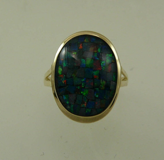 Mosaic 12.3 mm x 16.1 mm Opal Ring With 14k Yellow Gold
