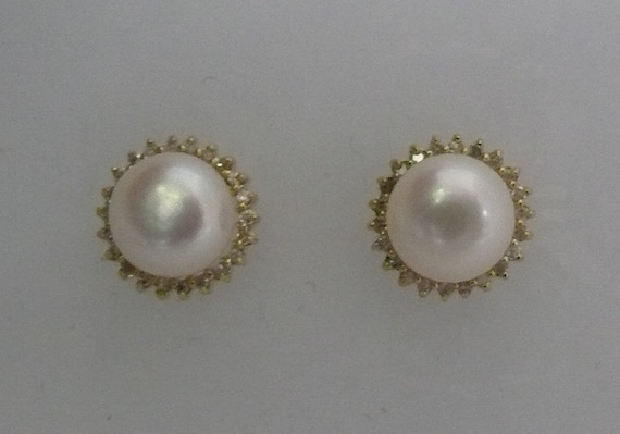 Freshwater White 8.3 mm Pearl Earrings with 14k Yellow Gold and Diamonds 0.22ct