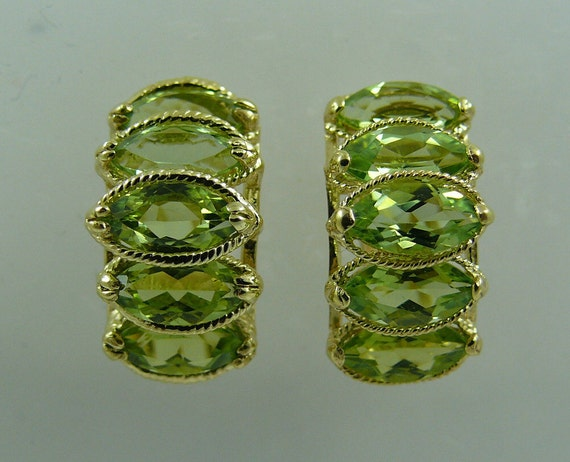 Peridot Earring 14k Yellow Gold Omega Backs