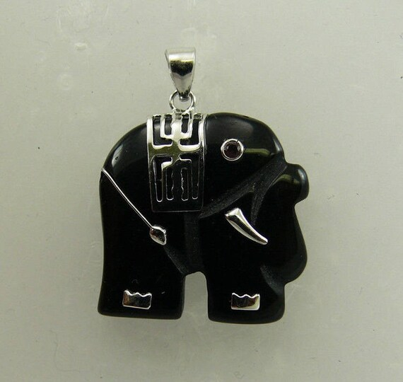 Black Onyx Elephant Pendant and Ruby Eyes with Sterling Silver Setting