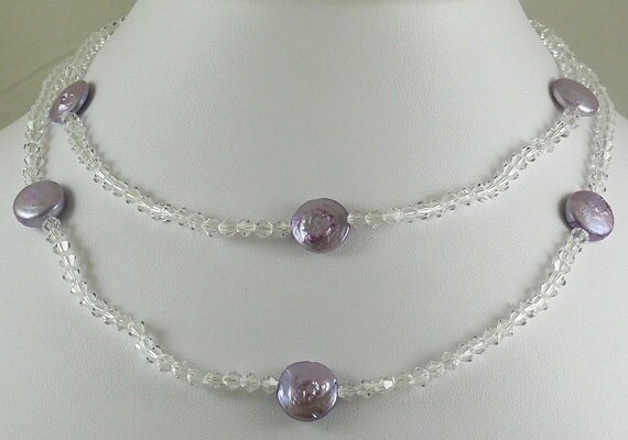 Freshwater Purple Color Pearl Necklace with Clear Crystal 33 Inches