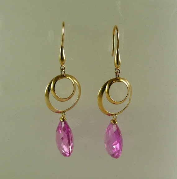Pink Topaz Dangle Earring 14k Yellow Gold